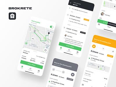 Brokrete: Concrete Driver's App ios mobile interface app navigate brokrete service map stepper flow ux ui navigation schedule delivery truck