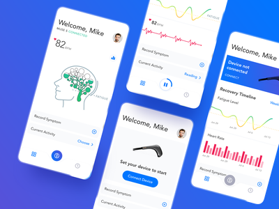 The first UI concept of Neurovine minimal analytics heart iot device chart brain healthcare ios interface mobile app ui