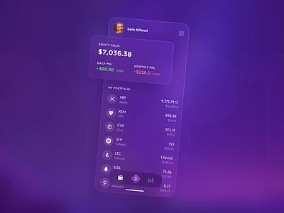 Vacation Shot bitcoin portfolio purple minimalistic aurora ui crypto wallet cryptocurrency crypto wallet