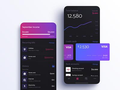 Wealth Manager Dark UI dashboard budget mobile cards walled.card money banking fintech app ios ui dark