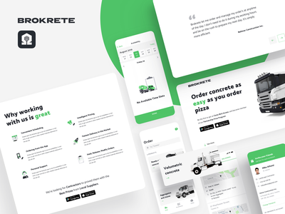 Brokrete: the concrete delivery service Uber would enjoy application interface typography branding schedule illustration logo icon delivery landing profile android ios app mobile ux ui flat