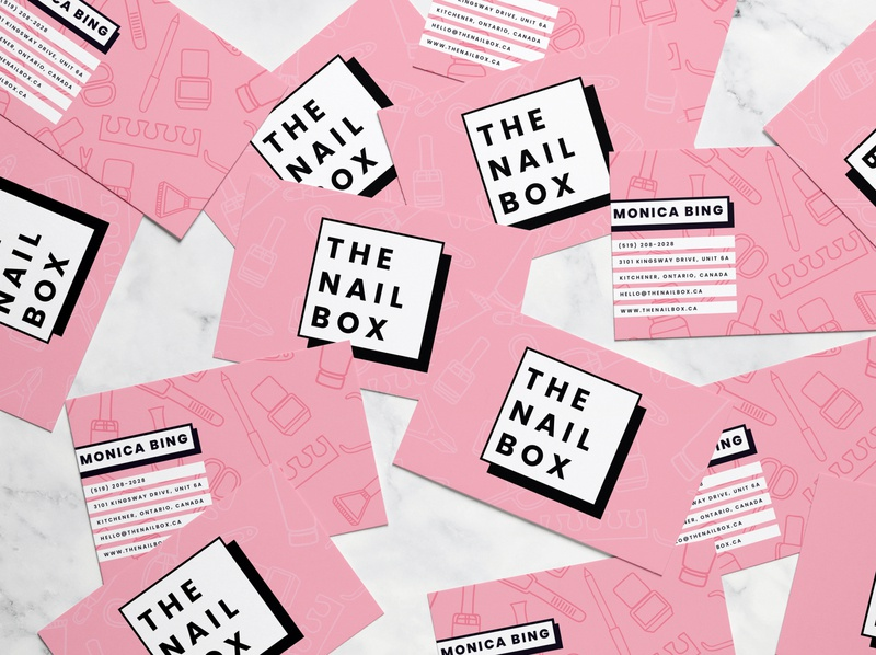 The Nail Box Business Cards nail salon loyalty card business card print design brand strategy brand design brand identity branding