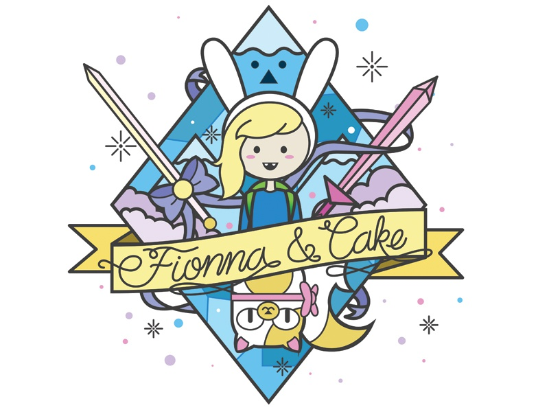 Fionna and Cake Take Two  illustration geometric minimalist illustrator geek fionna and cake adventure time tattoo