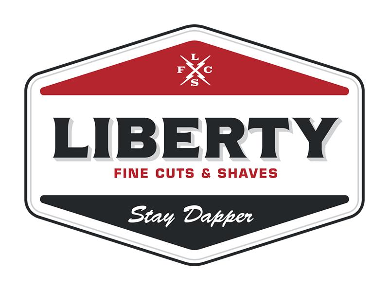 Liberty Patch logo design barbershop barber typography branding logo