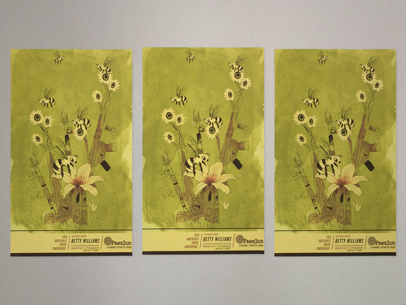 Peacejam Commemorative Poster gun violence flowers bees poster illustration