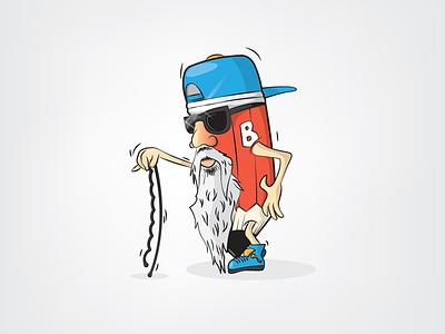 Old bastard pencil buckle pencil b carbon sunglasses beard full cap mascot character design pencil bastard old