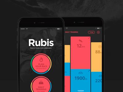 Rubis PRO - The Definitive Training Journal mobile ui iphone6 appstore swim bike run triathlon sports iphone app