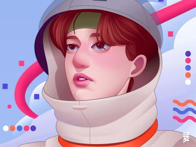 Astronaut maxine millian digital painting digital art astronaut portrait illustration portrait illustraion