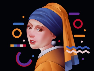 Girl with a pearl earring portrait painting portrait art portraits girl illustration girl with a pearl earring portrait illustration illustration portrait
