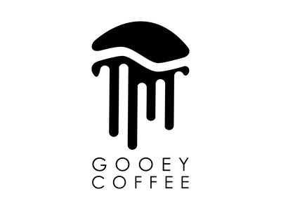 gooey coffee typogaphy modern design logo design coffee shop coffee black minimalist logo logo design branding