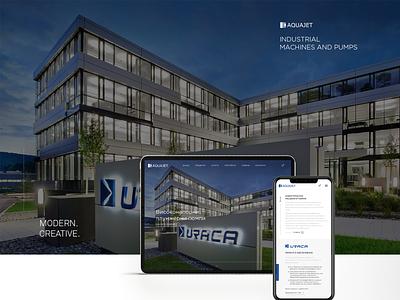 Aquajet- Industrial Machines and Pumps websitedesign digital modern clean corporate businesswebsite graphicdesign branding design