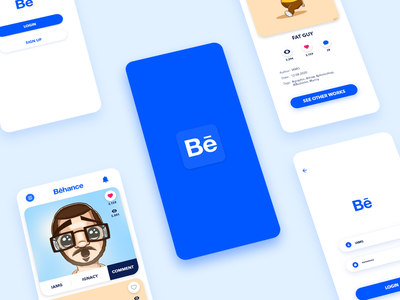 Behance App application app design behance blue app design vector branding ux ui digital