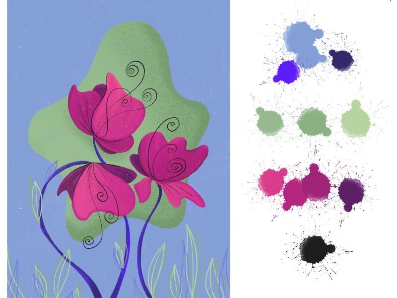 Cosmic Lillies flowers illustration procreate