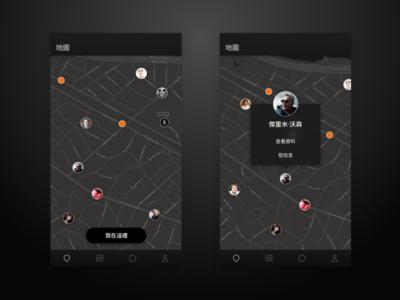 Dark Map UI chinese ui dark map ios