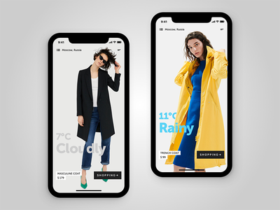 Fashion Weather shopping clothing app e-commerce iphone x fashion weather concept ios