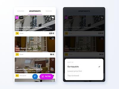 Rent filter concept mobile hotel app sort rent travel popup fab ios filter