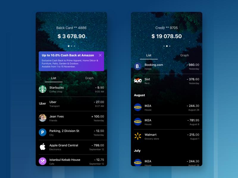 Banking App Concept business finance fin tech dark app ios