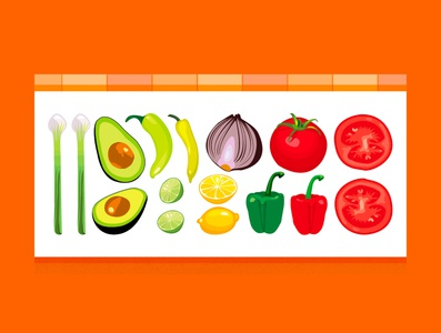 Mexican roast illustration chili tomato avocado vector illustration vegetables illustration