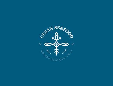 Urban seafood logo logotype urban grill seafood logo design logo