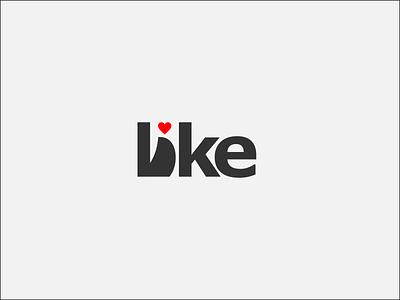 Like illustration design wordmark logo typography lettermark branding flat minimal logo loke love