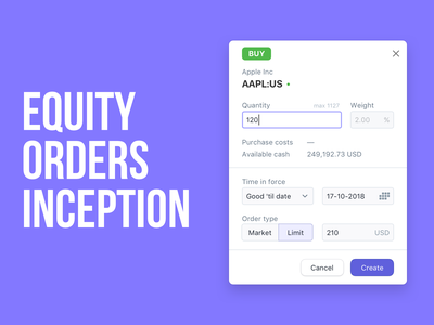 Equity orders inception fintech shares etf equities finance web