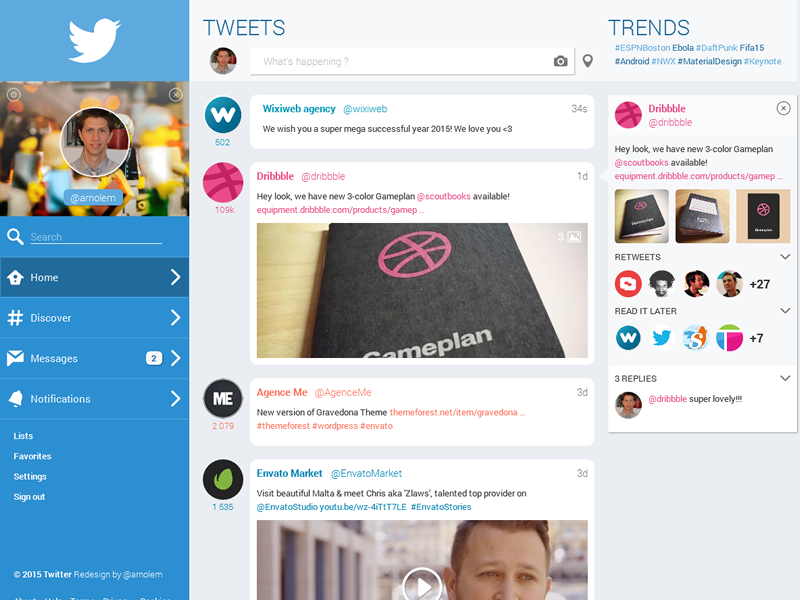 A Twitter Redesign webapp webdesign twitter redesign ui ux axure concept