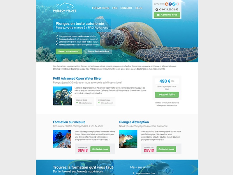 Poisson Pilote - Diving in France website webdesign diving landing page ui wixiweb