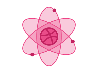 Dribbble Atom sticker pink flat logo atom dribbble