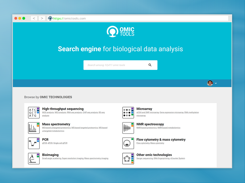 New UX of Omictools search engine landing page. rouen massspec microarray ngs engine search webdesign ux omic bioinformatics dna wixiweb