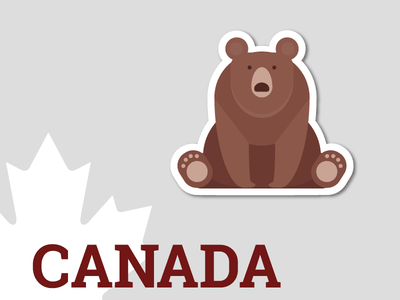 Canadian bear sticker canada bear stickermule illustration design sticker