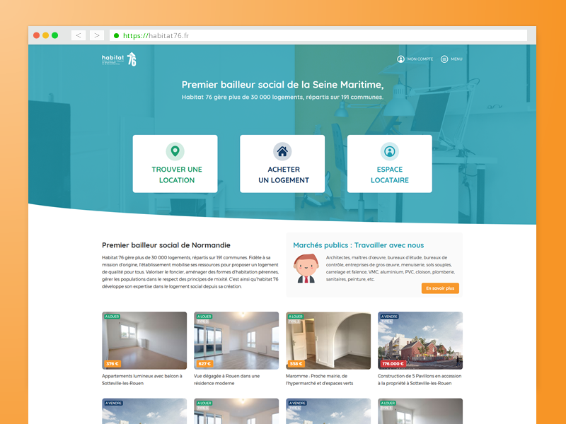 Habitat76 website homepage design (UX/UI) location immobilier home prototype curve landing page website axure wixiweb webdesign design ux design france rouen ux ui