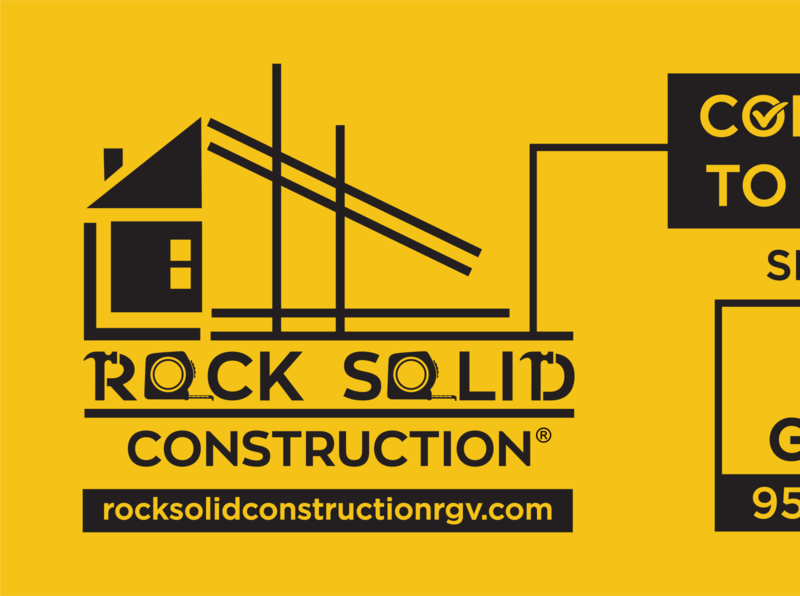 Rock Solid Construction 4X8 Marketing  Signage Concept1 typography vector logo illustration design branding design branding brand identity brand design brand