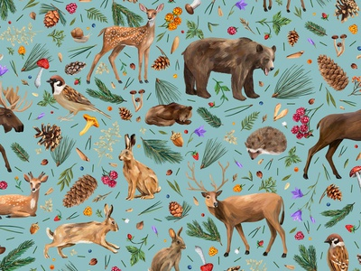 Forest pattern bears forest wallpaper print texile fashion pattern pattern design fabric illustration