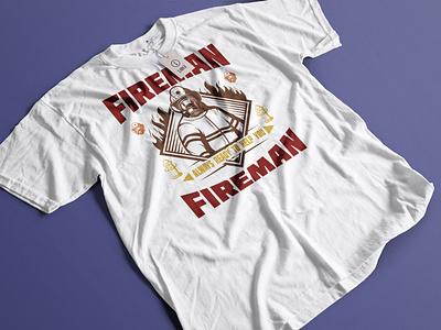 FIREMAN t shirt design vector branding icon illustrator illustration logo logo design design t shirt design t shirt