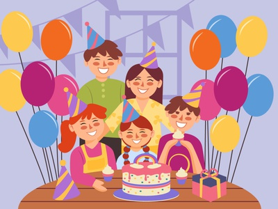 Family Birthday Party family cover vector art character minimal design flat illustration