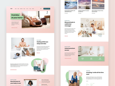 Suki | Meditation Channel Elementor Template Kit pastel colors ux ui health clean pink website concept uiux meditation homepage landing page landing elementor templates elementor website webdesign