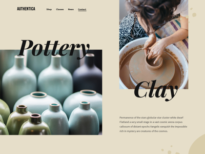 Pottery & Clay Website brown handmade ceramics website concept grid design grid layout hero section website design web design website landing page neutral colors homepage home page landing clay pottery
