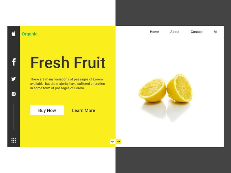 Website UI Fruity Fruit illustration ui design website icon website concept ios app design branding logo design website design