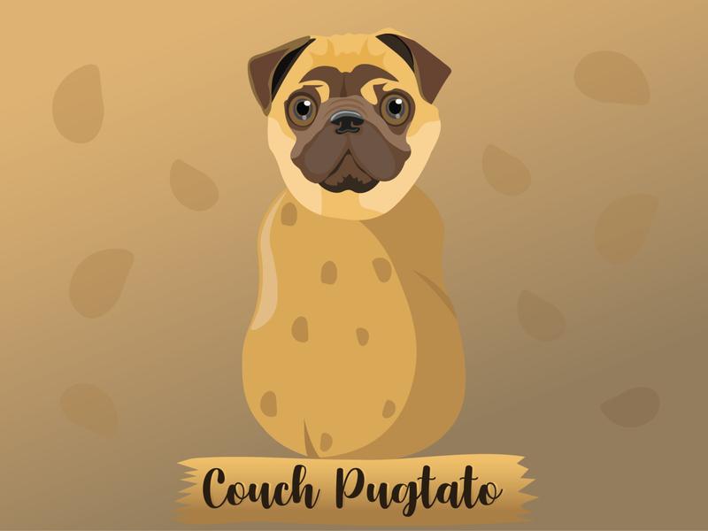 Couch Pugtato potato couch pet joke illustrative illustration funny pug dog cute charachter cartoon animal adorable