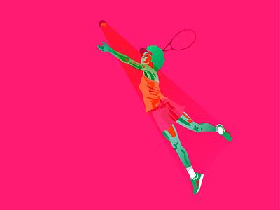 Tennis girl in sport flat vector sport minimal illustration