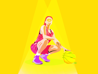 Basketball basketball girl in sport vector sport minimal illustration flat