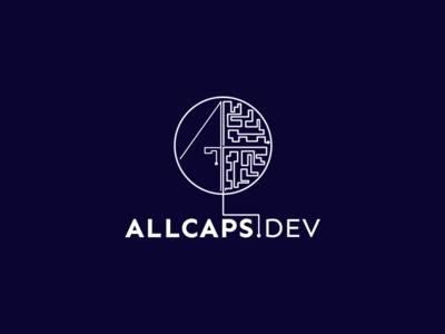 White ALLCAPS.DEV white blue logodesign wireframe wire vector software logo design engineering branding art