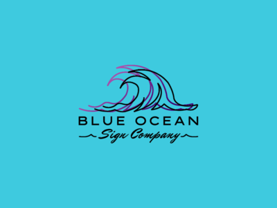 BLUEOCEAN company sign ocean water wave flat blue vector logodesign logo design branding art