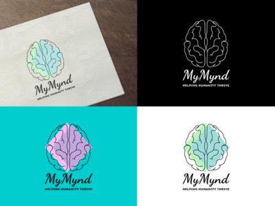 MyMynd-Logo humanity mentalhealth mindfulness mind company branding brain blue flat vector logodesign logo design branding art