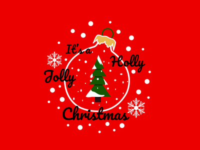 Holly Jolly Christmas - Illustration jolly holly snowflakes snow bouble green red coreldraw corel draw christmas illustration christmas christmas party christmas tree illustration design art