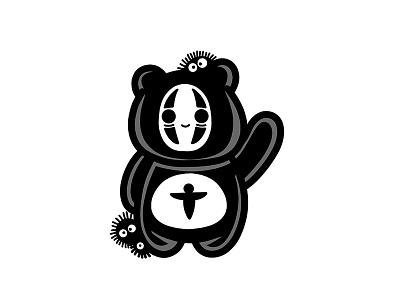 Kaonashi Sleeping Panda sticker kaonashi cute white black logo panda