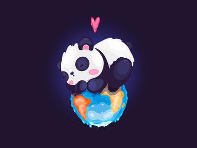 Sleeping panda for WWF Illustration