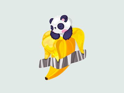 Sleeping panda in banana on the wall character design art concept cute draw illustration procreate wall pandas banana