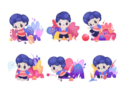 Playing boy set illustration