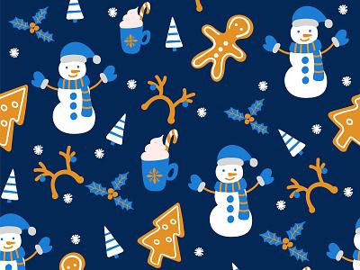 Christmas pattern illustration character pattern christmas flat vector